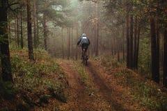 Sirva el bosque biking del otoño de la montaña del corredor en niebla Fotografía de archivo