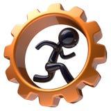 Sirva el carácter que funciona con el icono interior del hombre de negocios de la rueda de engranaje Ilustración del Vector