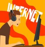 Sirva el carácter que juega los juegos de ordenador, dependencia de Internet, mún hábito y el apego del ejemplo moderno del vecto stock de ilustración