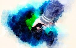 Sirva el combustible de bombeo de la gasolina en coche en la gasolinera y el fondo suavemente borroso de la acuarela Foto de archivo libre de regalías