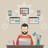 Sirva el concepto de la Software Engineer con las soluciones del diseño, de la optimización, responsivas y de desarrollador Imágenes de archivo libres de regalías