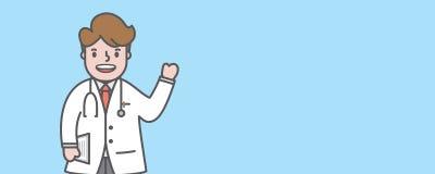 Sirva el consejo del carácter del doctor con vecto en blanco del ejemplo de la bandera stock de ilustración