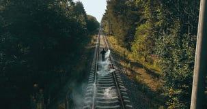 Sirva el funcionamiento en vías del tren con la bomba de humo Opinión trasera del abejón Corredor que señala al tren inminente Fe metrajes