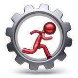 Sirva el funcionamiento humano rojo estilizado carácter dentro de la rueda dentada Libre Illustration