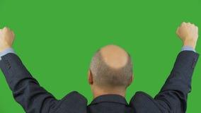Sirva el levantamiento y los puños móviles para arriba aislados en fondo verde Canal alfa, pantalla verde cerrada almacen de video