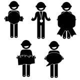 Sirva el negocio básico de la ropa de la muestra del icono de la gente de la postura Imágenes de archivo libres de regalías