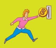 Sirva el salto insertando la moneda gigante en ranura Fotografía de archivo libre de regalías