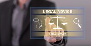 Sirva el tacto de un concepto del asesoramiento jurídico en una pantalla táctil Fotografía de archivo libre de regalías