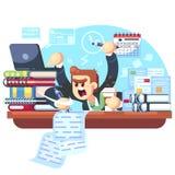 Sirva el trabajo excesivo en la oficina, ejemplo del vector del plazo Encargado que se sienta en el escritorio con la pila de doc ilustración del vector