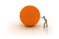 Sirva empujar la bola grande y pesada en la tierra agrietada Fotografía de archivo