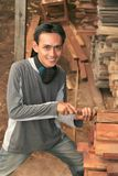 Sirva en la industria de maderas Foto de archivo