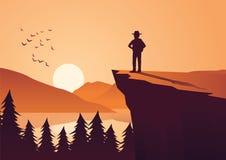 Sirva la aventura de la toma en la selva, soporte en mirada del acantilado al sol en a ilustración del vector
