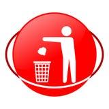Sirva la basura que lanza en el ejemplo del vector de la basura, icono rojo Fotografía de archivo libre de regalías