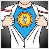 Sirva la camisa de la abertura a mostrar el símbolo del dólar de EE. UU. Foto de archivo