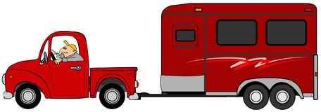 Sirva la conducción de un camión y el remolque de un remolque del caballo Fotos de archivo