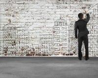 Sirva la escritura en la pared de ladrillos vieja, ejemplo Imágenes de archivo libres de regalías