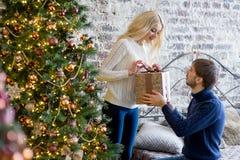 Sirva la fabricación de un regalo a la muchacha mientras que están adornando la Navidad Fotografía de archivo libre de regalías