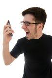 Sirva la griterío en el teléfono Fotografía de archivo libre de regalías