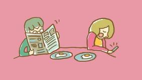 Sirva la lectura de un periódico, mujer que mira el teléfono elegante en el ejemplo del vector del desayuno de la familia Foto de archivo
