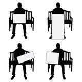 Sirva la localización de la silueta en silla con el ejemplo del sistema de tarjeta en whi ilustración del vector