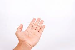 sirva la mano adolescente para sostener el artilugio, aislado en blanco Foto de archivo libre de regalías