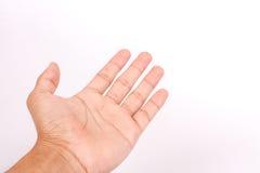 sirva la mano adolescente para sostener el artilugio, aislado en blanco Imagen de archivo libre de regalías
