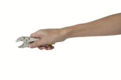 Sirva la mano que lleva a cabo los pares de acero aislados en el fondo blanco Imagenes de archivo
