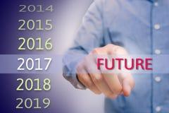 Sirva la mano que señala el texto futuro, hombre del cuerpo, wor de cepillado del hombre de negocios Imagen de archivo