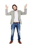 Sirva la presentación con las manos para arriba en el fondo blanco expr humano de la emoción Foto de archivo