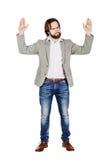 Sirva la presentación con las manos para arriba en el fondo blanco expr humano de la emoción Imagenes de archivo