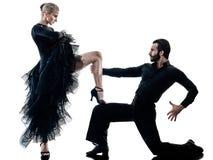 Sirva la silueta del baile del bailarín de la salsa del tango del salón de baile de los pares de la mujer imágenes de archivo libres de regalías