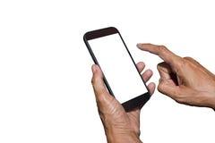 Sirva la tenencia de la mano y móvil con, teléfono celular, teléfono elegante con la pantalla aislada Fotografía de archivo libre de regalías