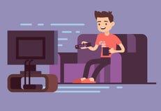 Sirva la TV de observación y el café de consumición en el sofá en el ejemplo interior del vector del sitio casero Imagenes de archivo
