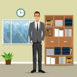 Sirva la ventana del reloj del pote de la planta del estante del trabajo de oficina de negocios stock de ilustración