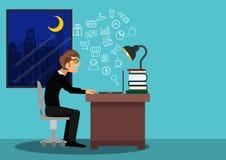 Sirva las compras felices jovenes en línea en el cuaderno del ordenador portátil en la noche ilustrador Fotos de archivo libres de regalías