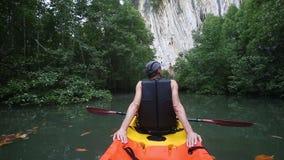 Sirva las derivas kayak a lo largo del río entre árboles del mangle almacen de metraje de vídeo