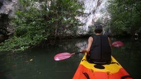 sirva las filas kayak a lo largo del río entre la maleza del mangle al acantilado metrajes