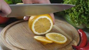 Sirva las manos del ` s que cortan un limón en un pedazo stock de ilustración