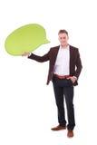 Sirva llevar a cabo la burbuja en blanco blanca del discurso con el espacio para el texto Imagen de archivo libre de regalías