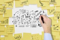 Sirva los iconos del negocio del dibujo de la mano del ` s en whiteboard Fotografía de archivo