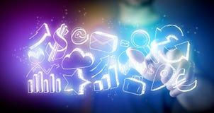 Sirva los iconos dibujados mano conmovedora del negocio en un futuristi de la tecnología Imágenes de archivo libres de regalías