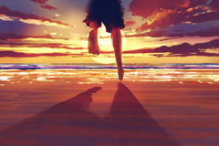 Sirva los pies que corren en la playa en la salida del sol ilustración del vector