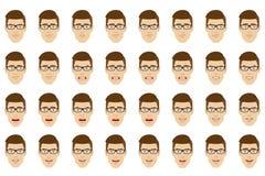 Sirva los vidrios que llevan con diversas emociones y expressi facial libre illustration