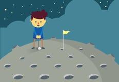 Sirva poner un agujero de la pelota de golf en la luna Imágenes de archivo libres de regalías