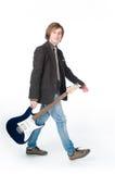 Sirva recorrer con la electro guitarra foto de archivo libre de regalías