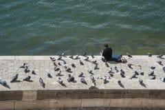Sirva sentarse en el banco de un río Imagenes de archivo