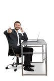 Sirva sentarse en el vector con la computadora portátil Foto de archivo libre de regalías