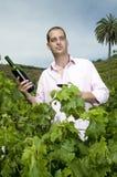 Sirva sostener una botella de vino en un viñedo Fotos de archivo libres de regalías