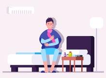 Sirva tener frío o gripe Enfermedad del invierno, persona enferma, paciente con el termómetro Vector de la prevención del virus d libre illustration