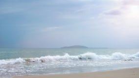 Sirva y una muchacha que corre a lo largo de la playa almacen de metraje de vídeo